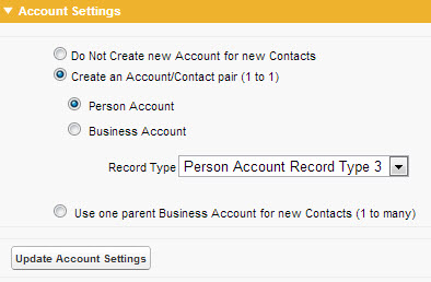 Account Settings for Persons Accounts
