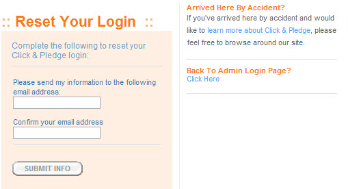 reset your login
