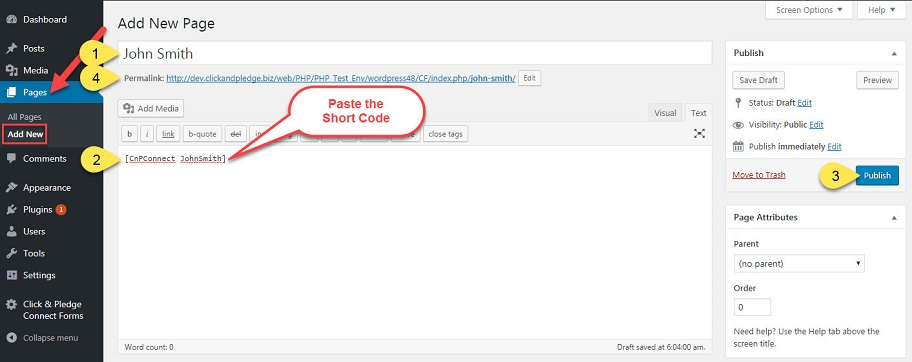 Short Code in Page